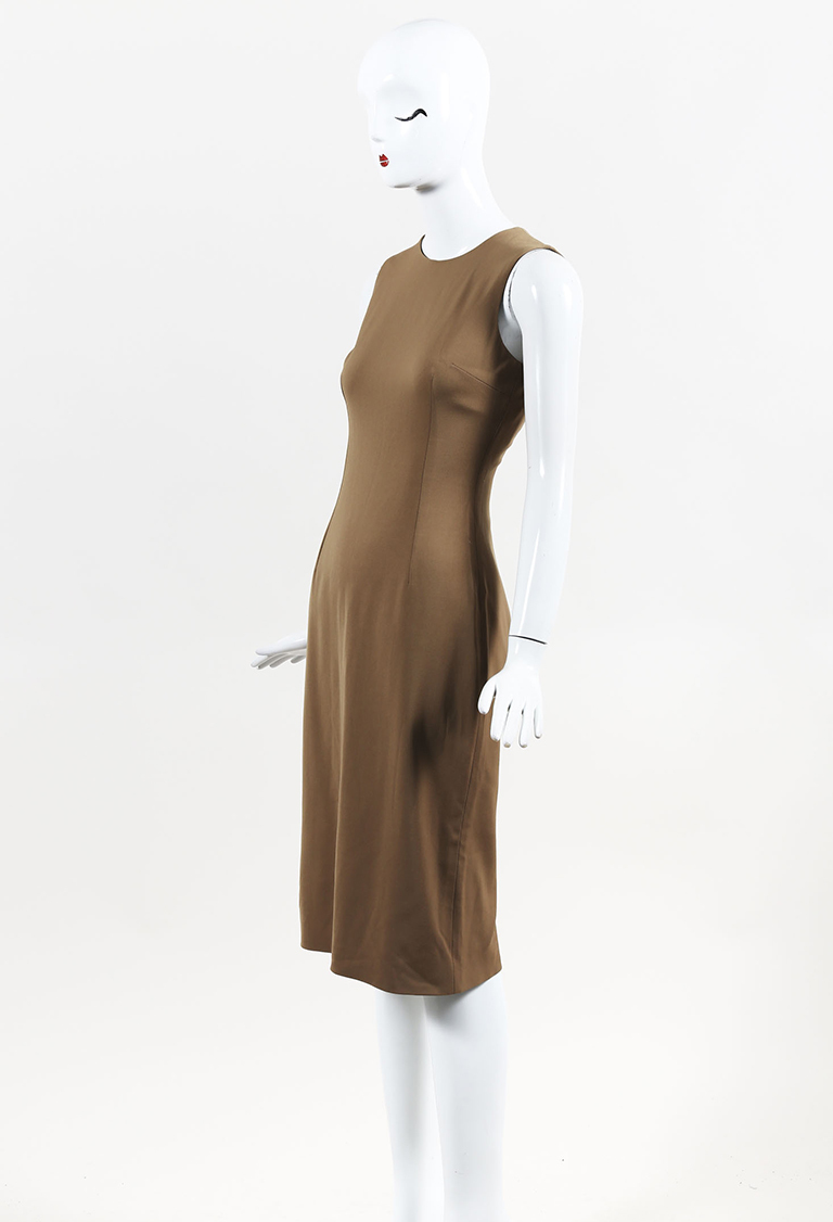 Brown Wool Blend Sheath Dress