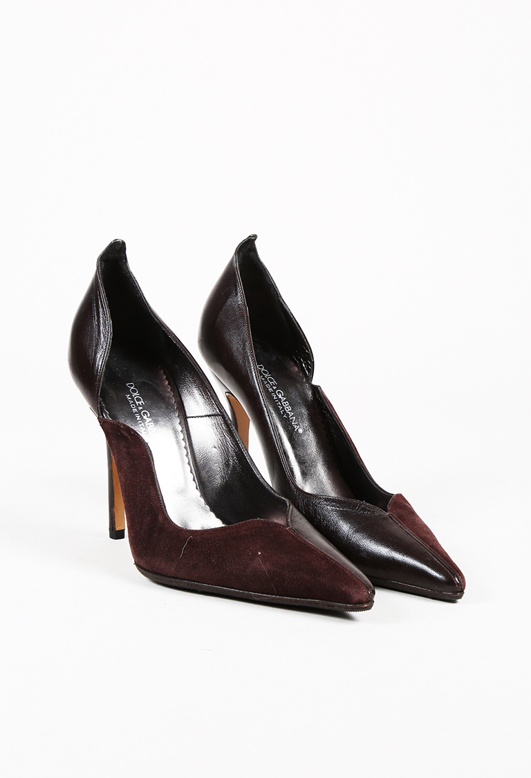 Brown Leather & Suede Pointed Pumps