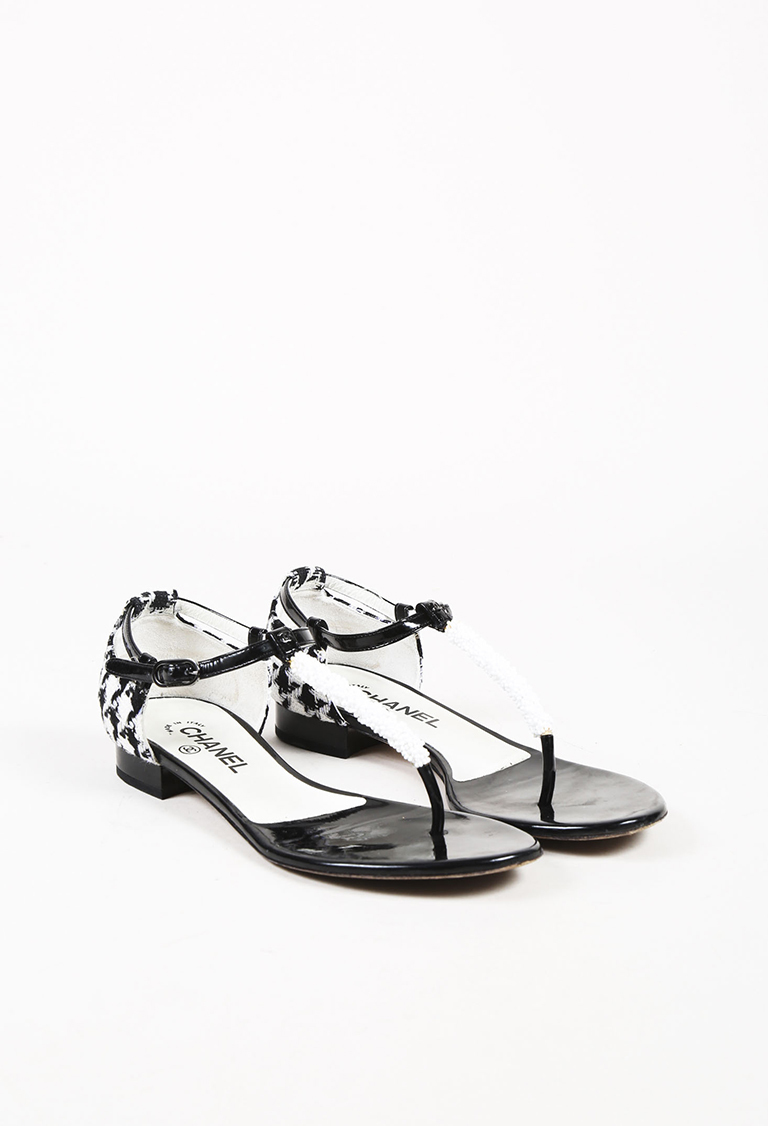 White Black Tweed & Patent Leather Bead Embellished Sandals