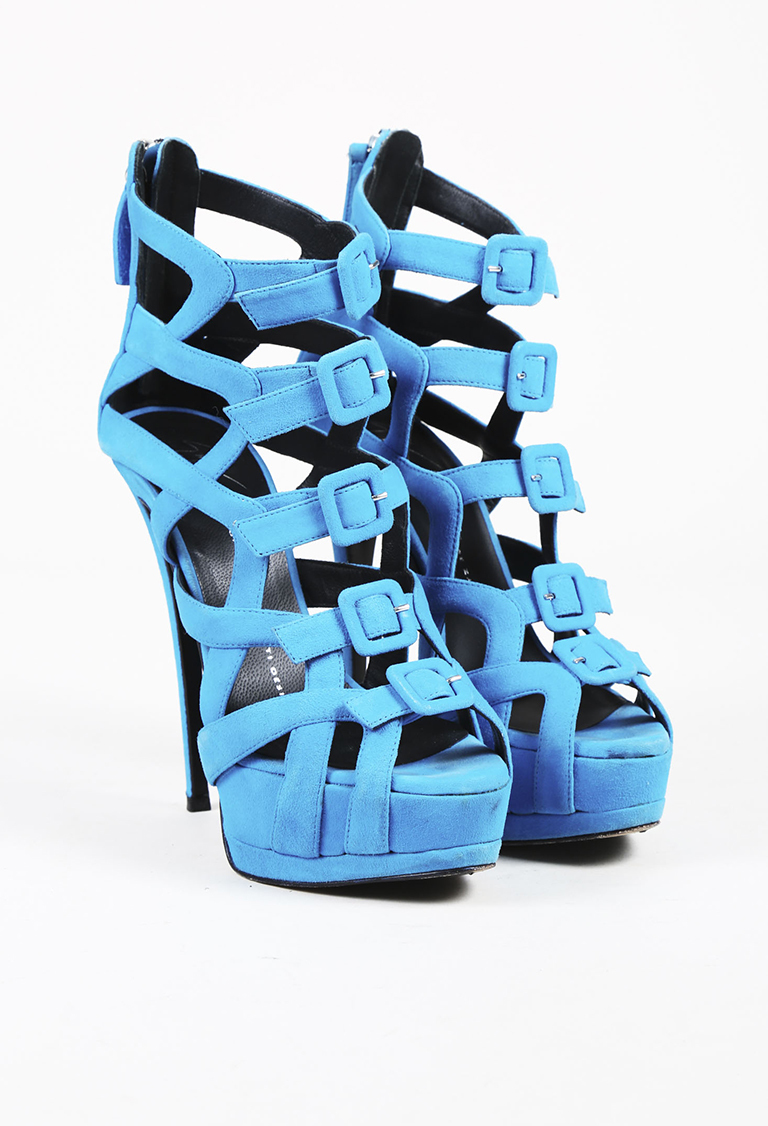 "Blue Suede Buckled ""Jake"" Platform High Heel Sandals"