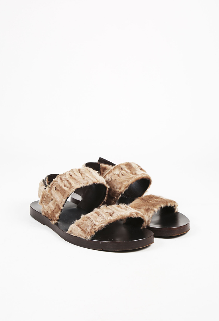 "MENS  Brown Persian Lamb Fur ""Brighton"" Ankle Strap Sandals"