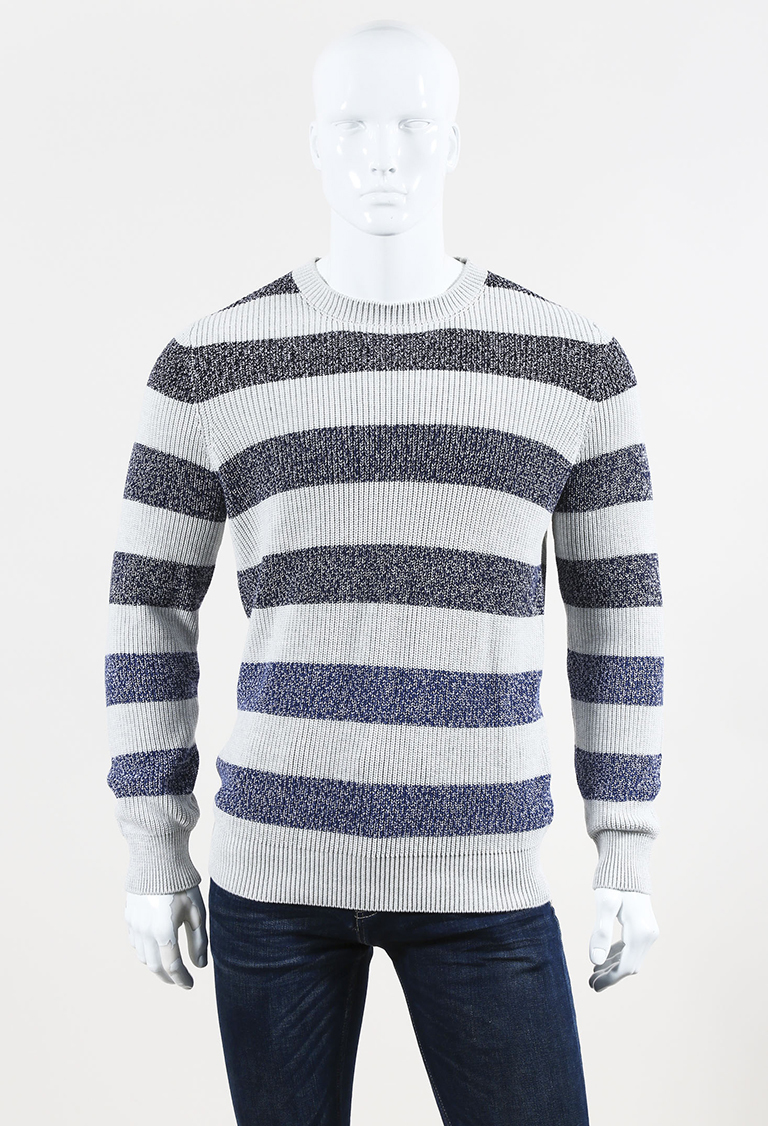 MENS  Gray Blue Knit Striped Sweater