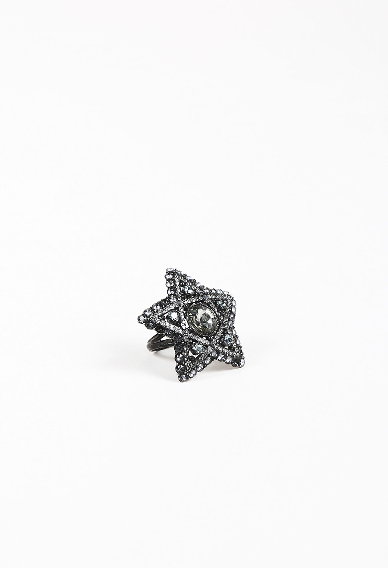 Silver Tone Metal Crystal Embellished Star Ring