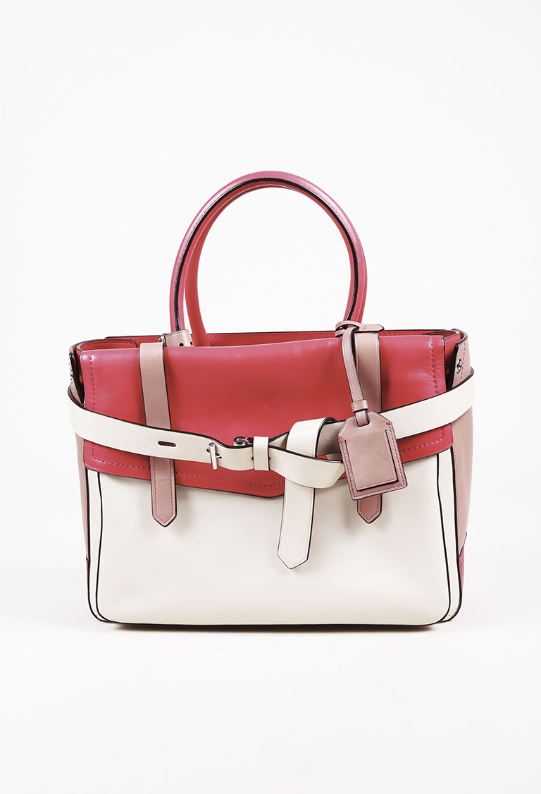 """Pink & Cream Leather """"Boxer"""" Tote Bag"""
