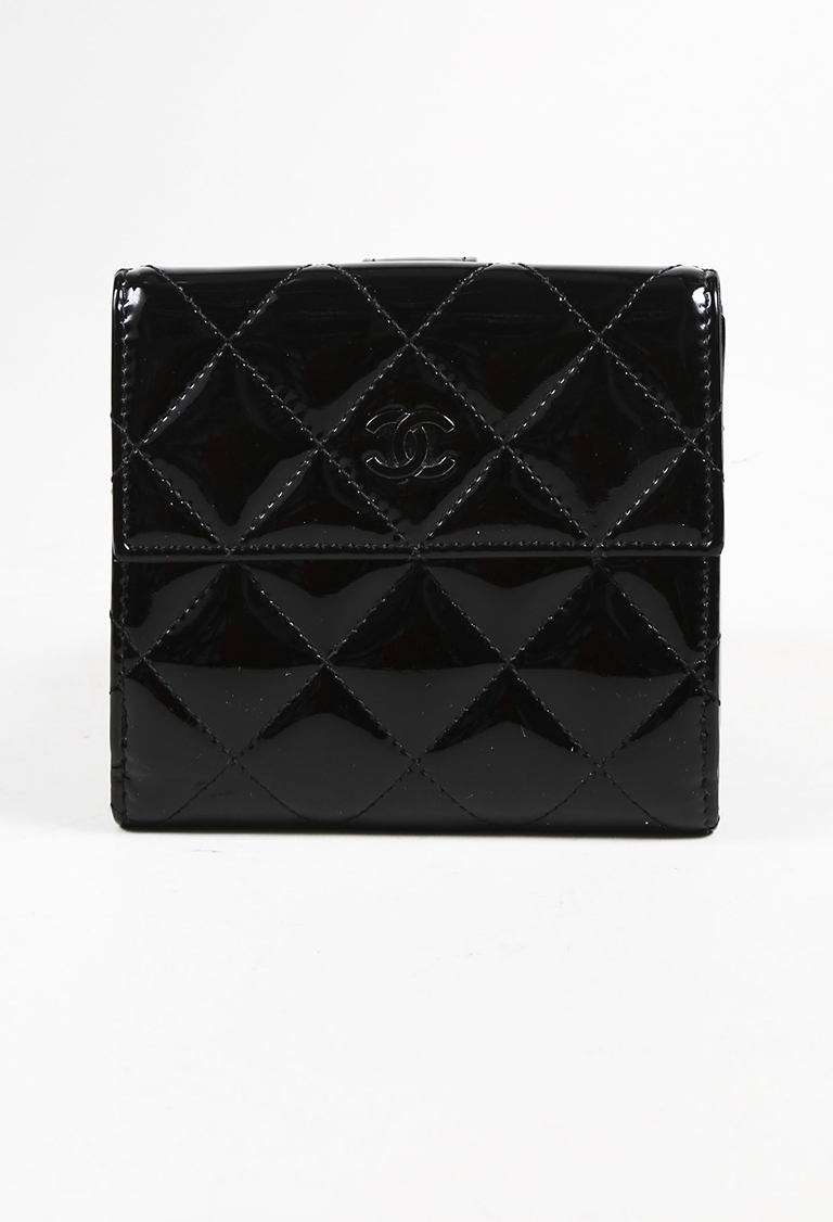 Black Quilted Patent Leather 'CC' Wallet