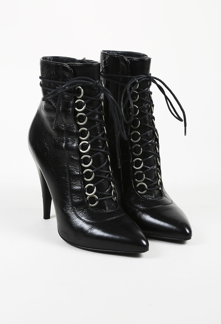 "Black Leather ""Fetish"" Lace Up Boots"
