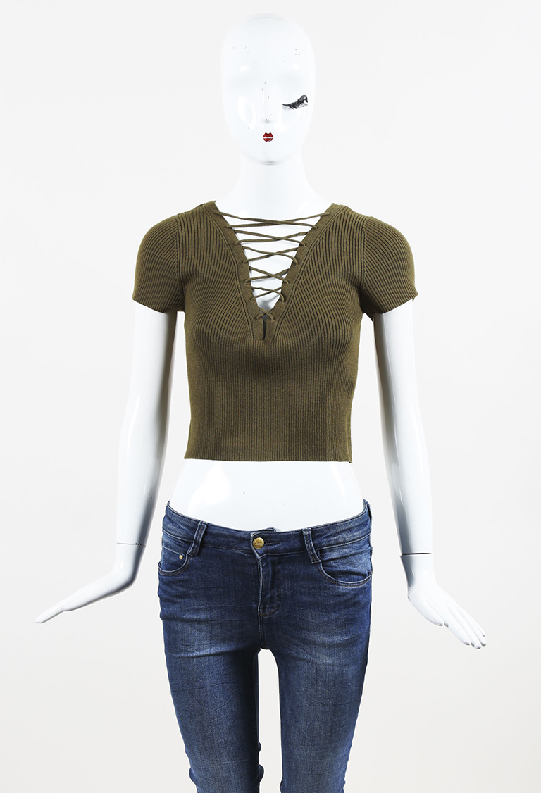 T by  Green Cashmere Blend Ribbed Knit Lace Up Cropped Top