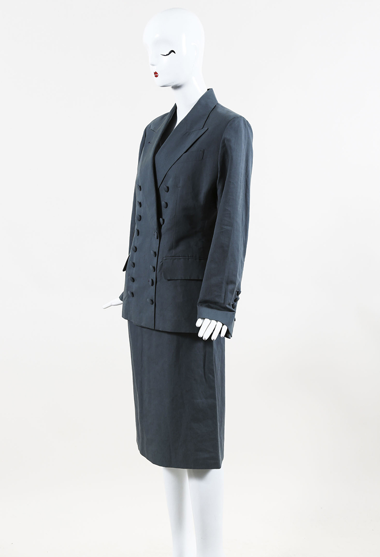 966c2fdd8ae Femme Gray Double Breasted Skirt Suit