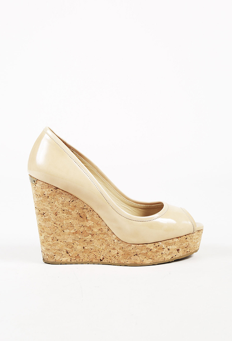 c99d306d1 Jimmy Choo Beige Patent Leather Peep Toe Wedge Pumps | Luxury Garage ...