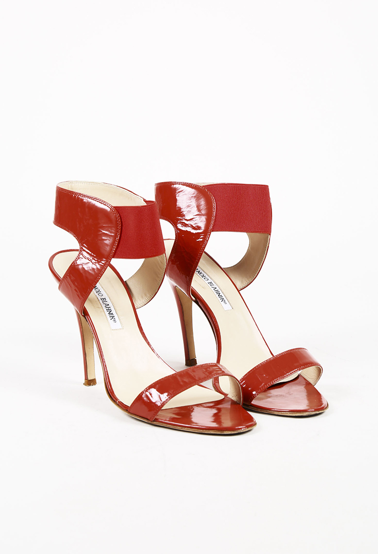 """Red Patent Leather """"Pepe"""" Ankle Strap Sandals"""