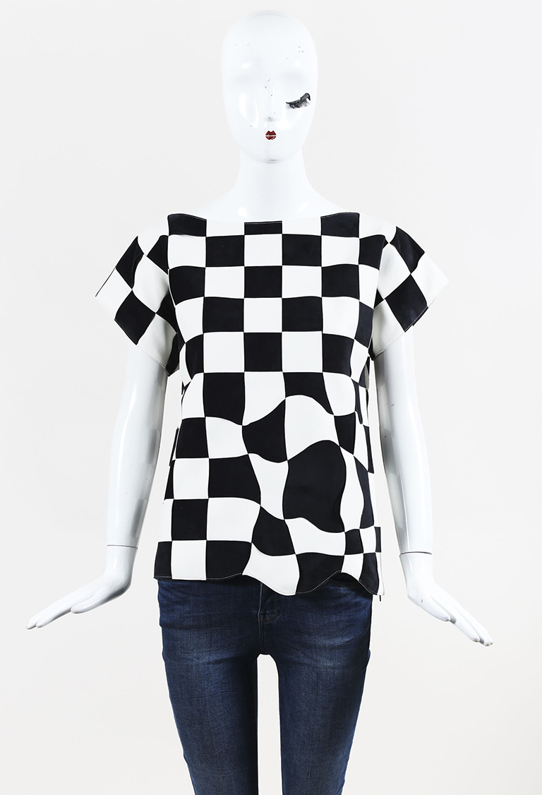 Blue & White Leather & Suede Short Sleeve Check Top