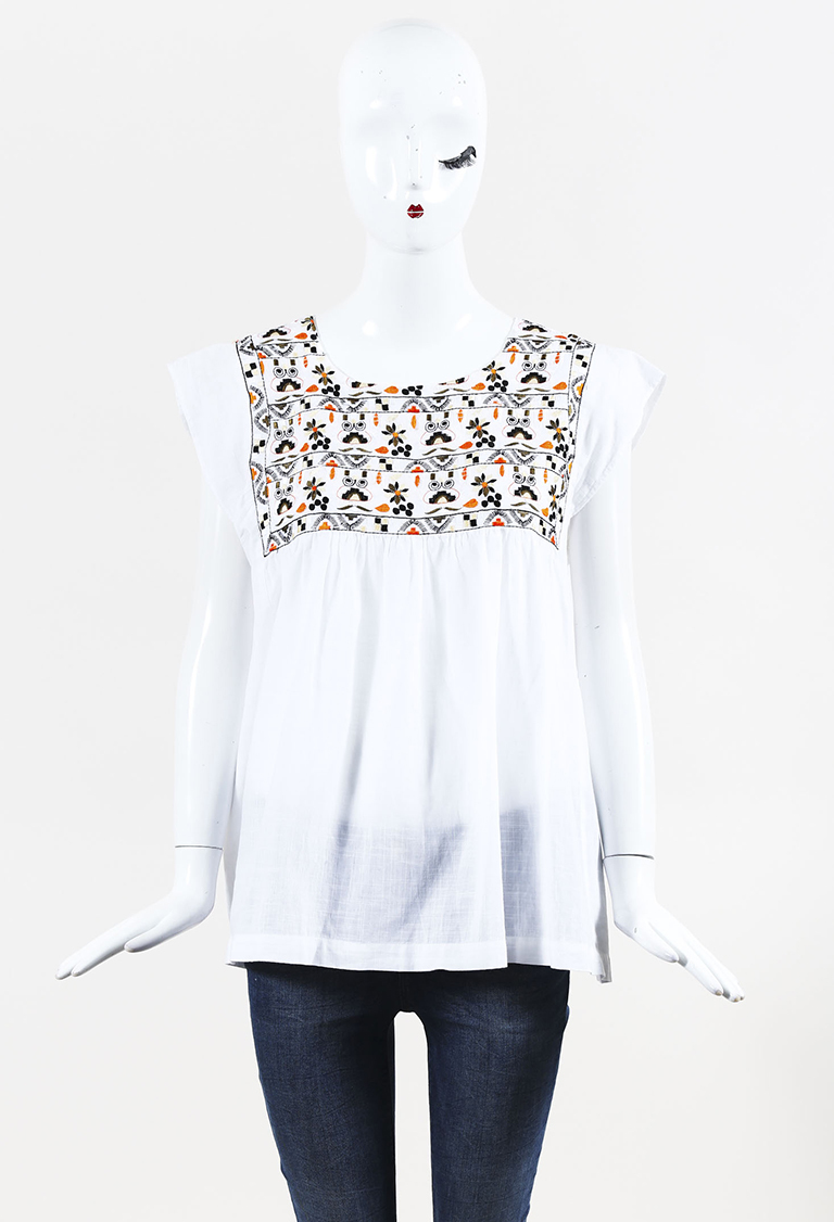 White Multicolor Cotton Sleeveless Embroidered Top