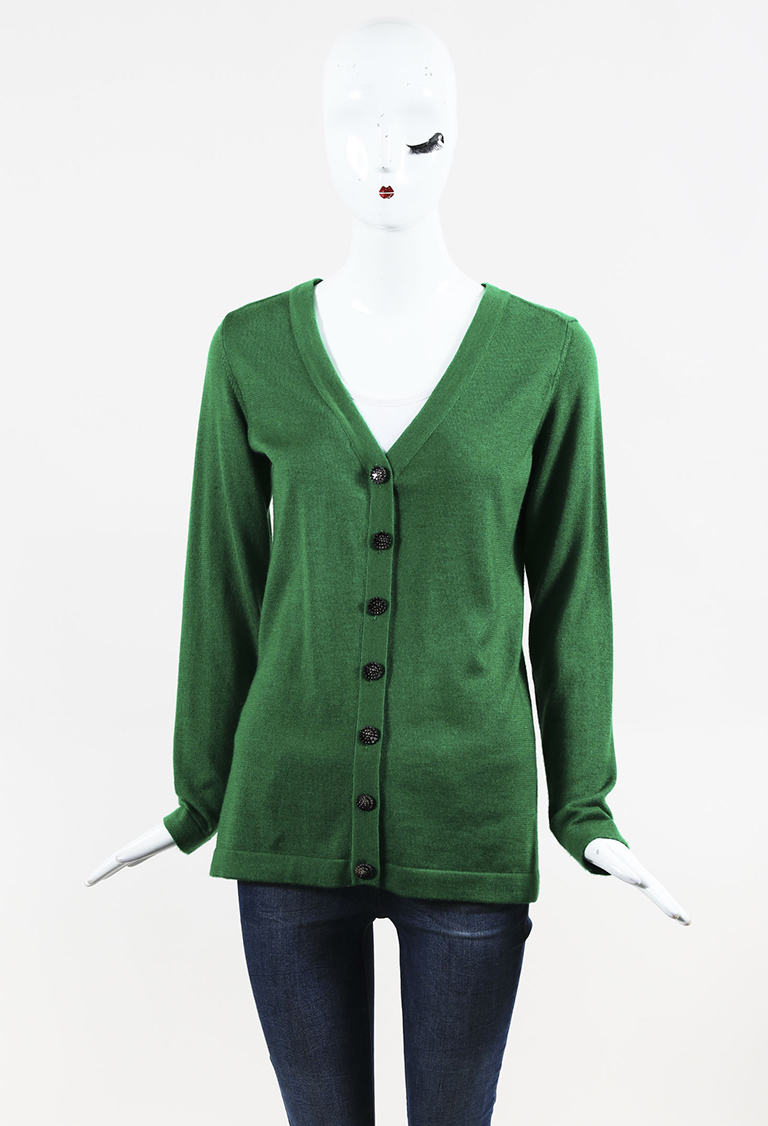 Green Cashmere & Silk Buttoned Cardigan