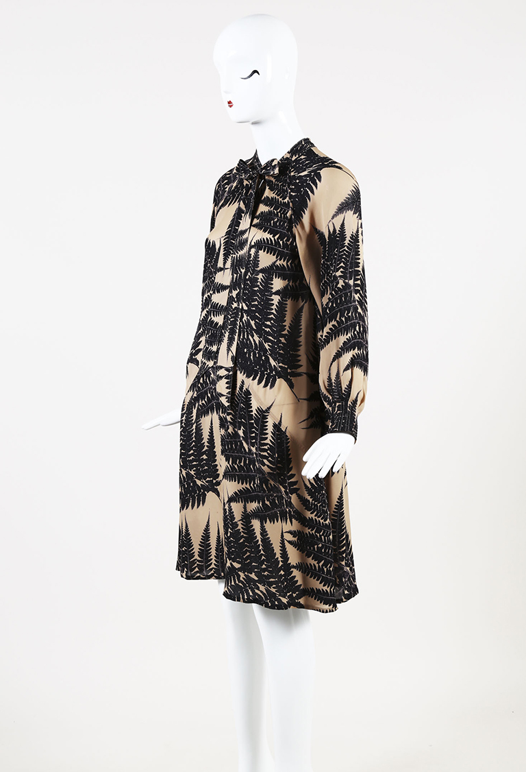 Beige & Black Silk Fern Print Flared Dress
