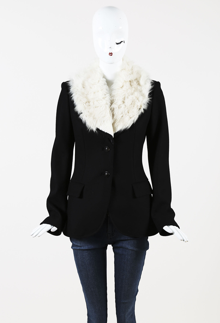 Black & Cream Wool Blend & Shearling Buttoned Jacket