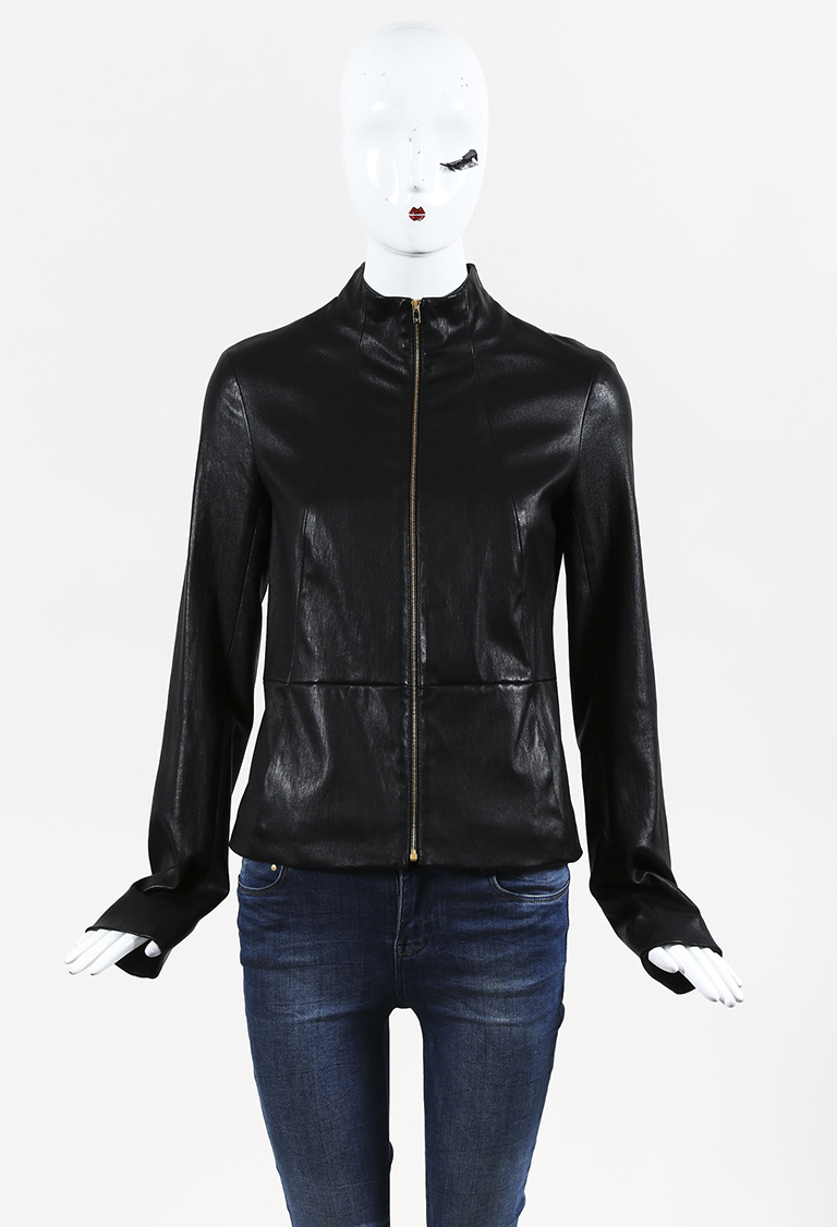 Black Lambskin Zipped Jacket