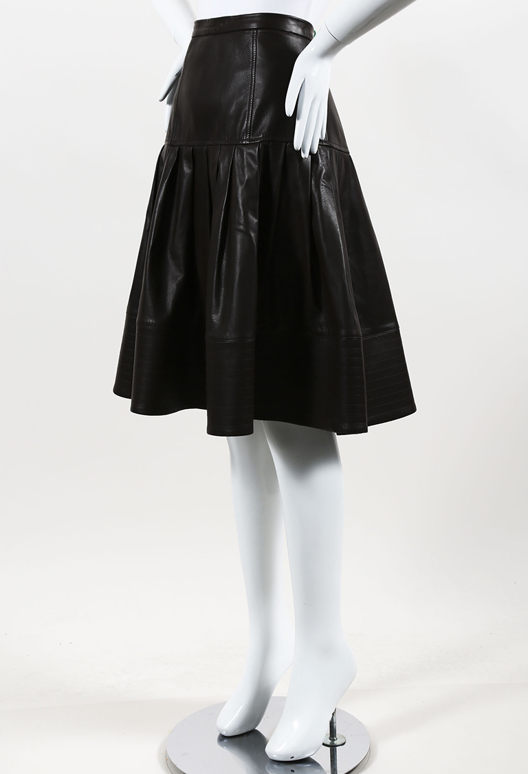 Brown Leather Pleated Skirt