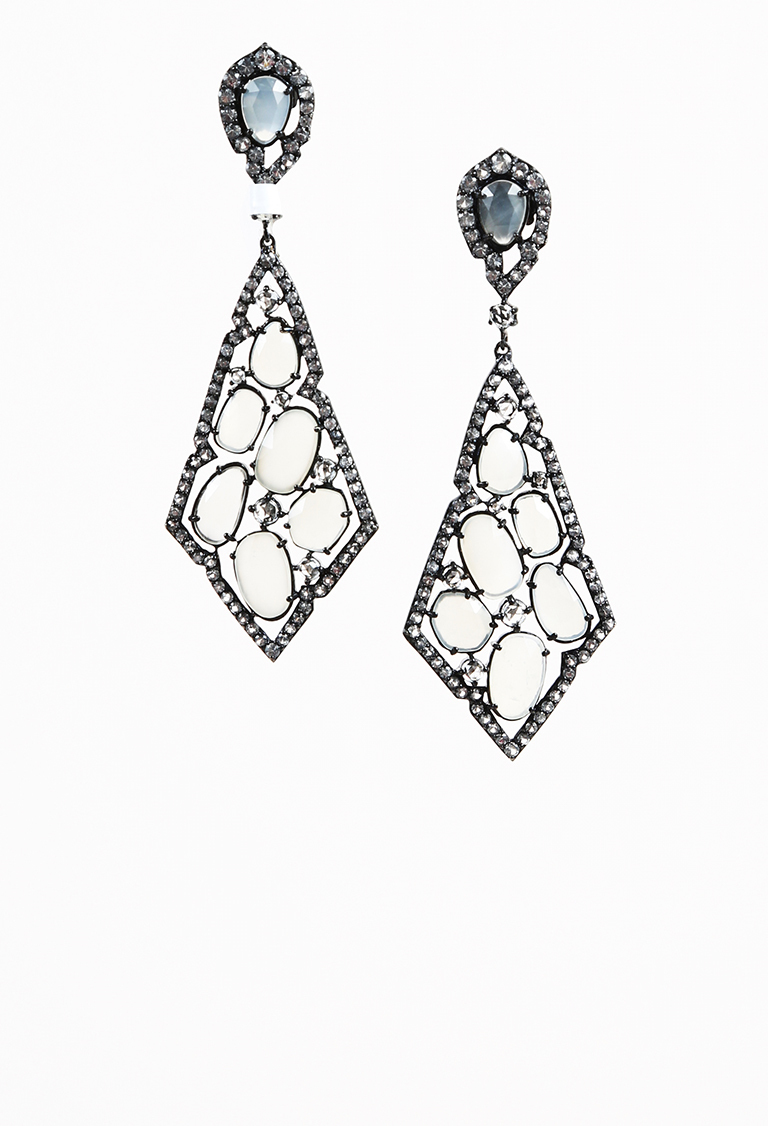 Moonstone & Diamond Sterling Silver Drop Earrings