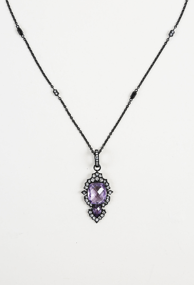 Amethyst White Topaz & Sterling Silver Pendant Necklace