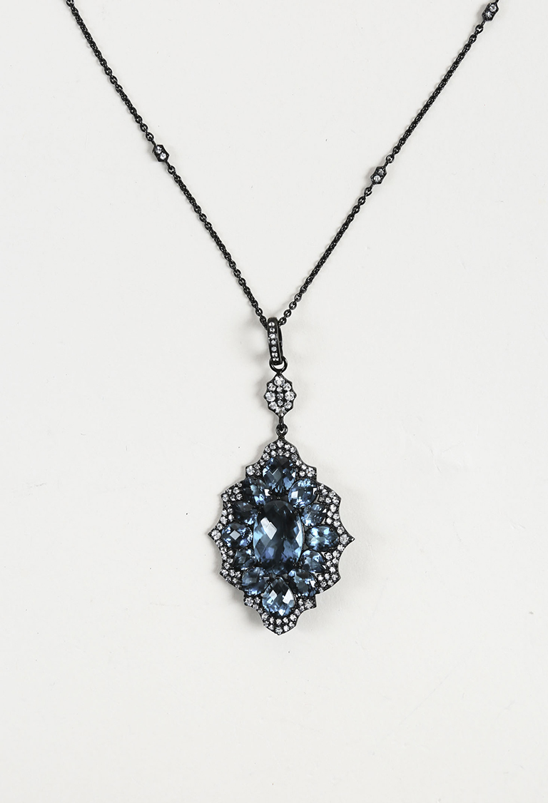 Blue and White Topaz Sterling Silver Pendant Necklace