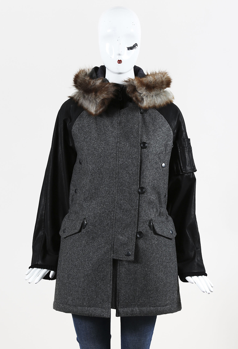 Gray & Black Wool Cotton & Lamb Fur Hooded Parka Coat
