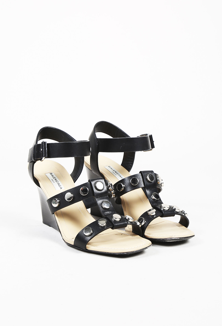 Black Leather Studded Gladiator Wedge Sandals
