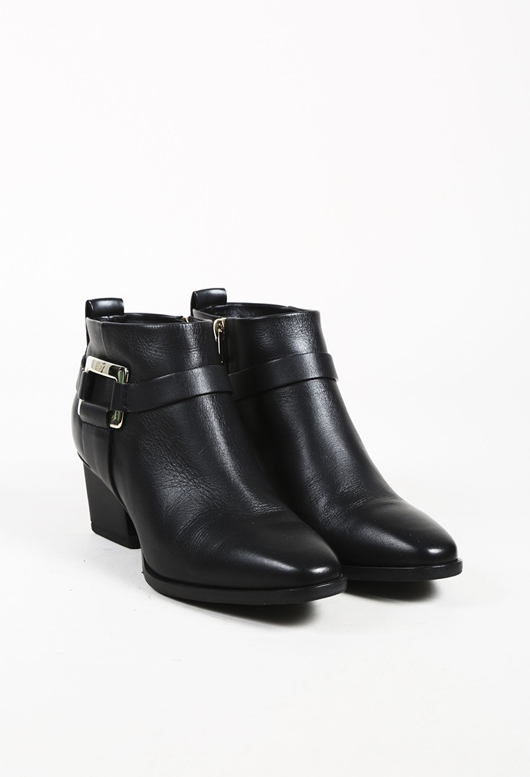 Black Leather Harness Ankle Boots