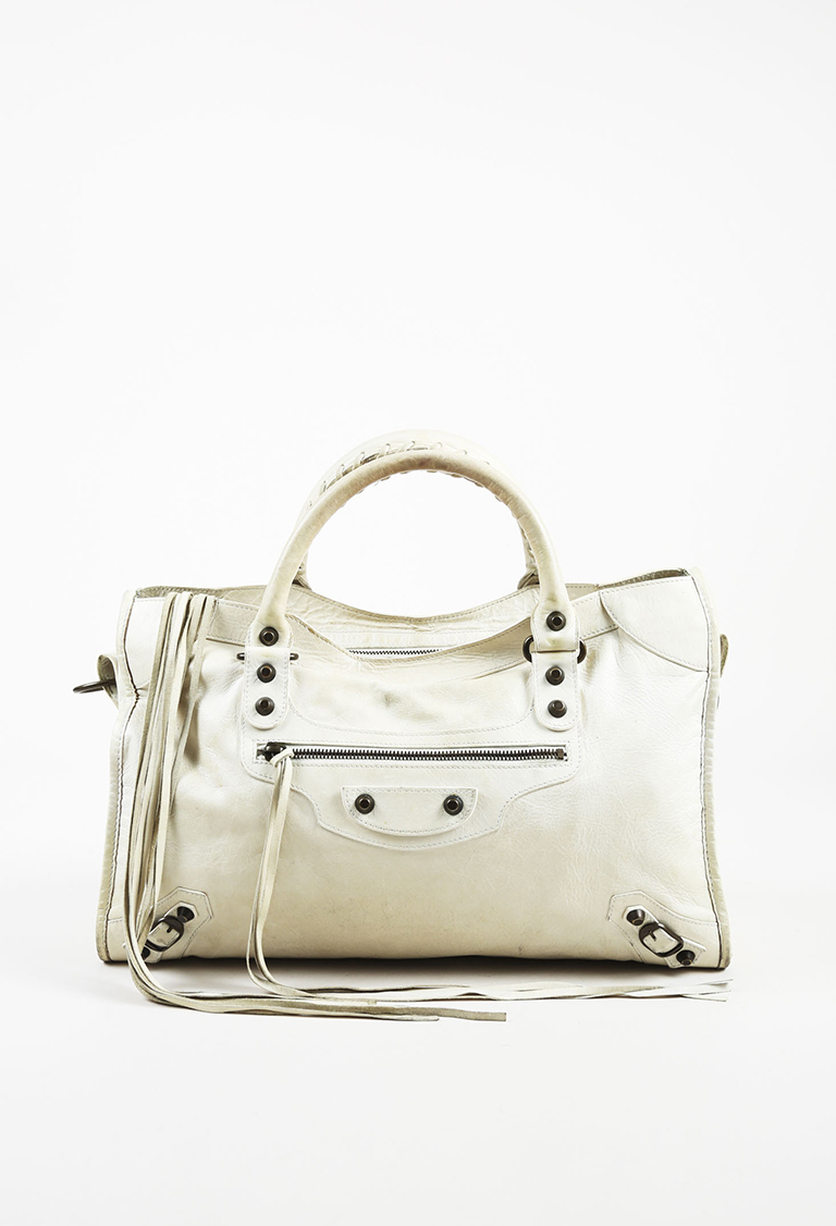 """White Leather 'Classic' Stud """"City"""" Bag"""