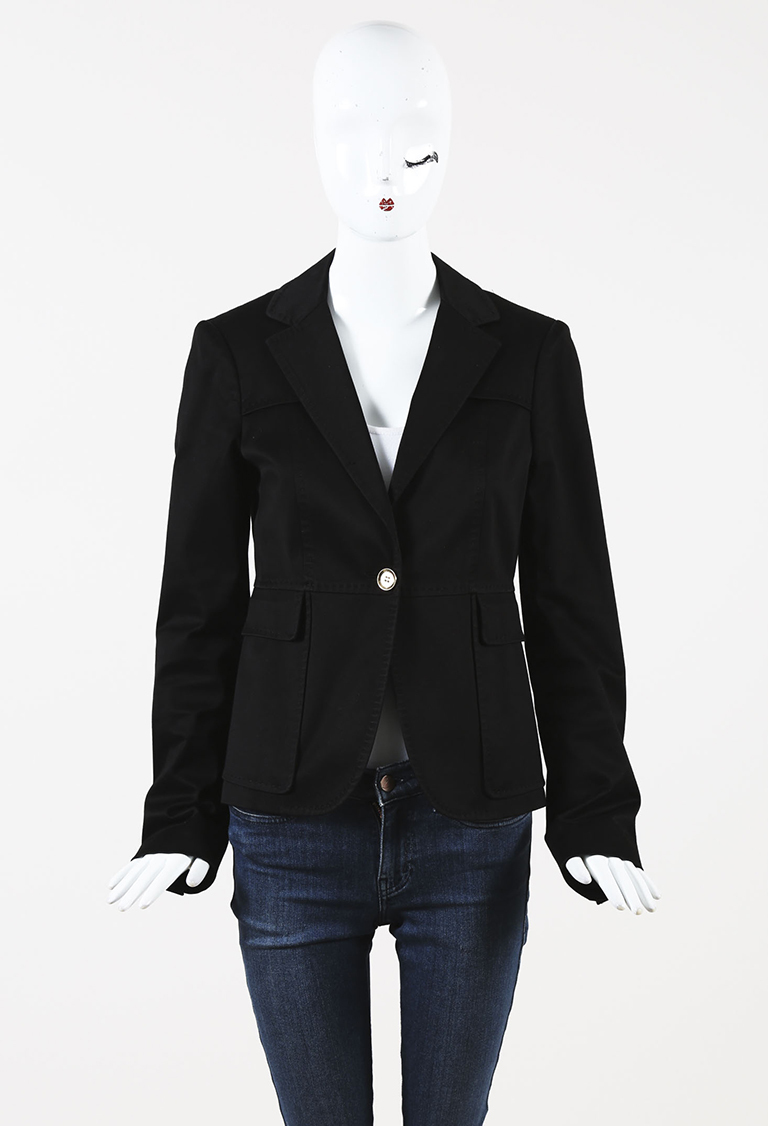 Black Cotton Single Button Blazer