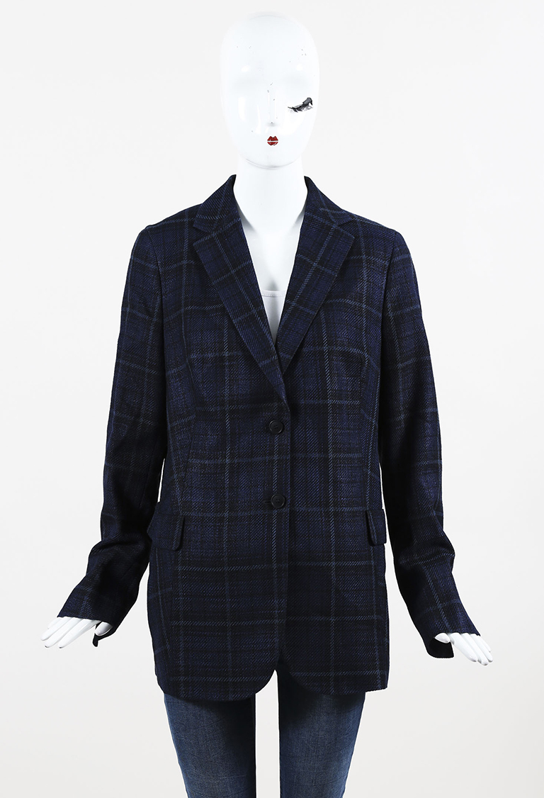 x Bergdorf Goodman Blue Silk & Cotton 2 Button Plaid Blazer
