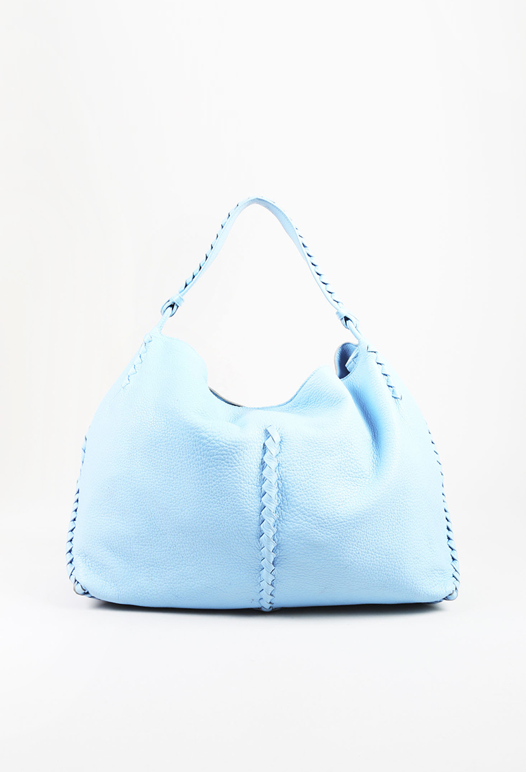 "Blue ""Barolo"" Leather Intrecciato Accented ""Cervo Loop Hobo"" Bag"