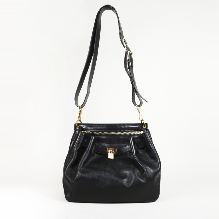 Details about Tom Ford Black Leather Front Lock Crossbody Bag e921a68b47