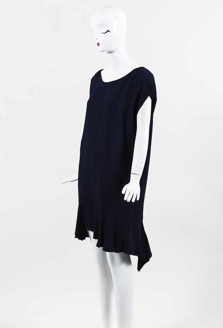 Blue Crepe Flounce Shift Dress
