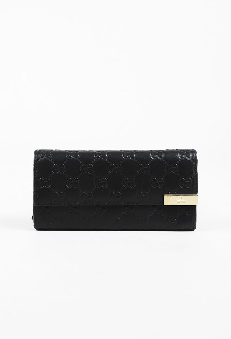 "Black ""Guccissima"" Leather Gold Tone Wallet"