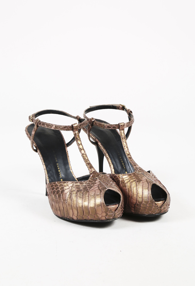 Metallic Brown Snakeskin Peep Toe Pumps