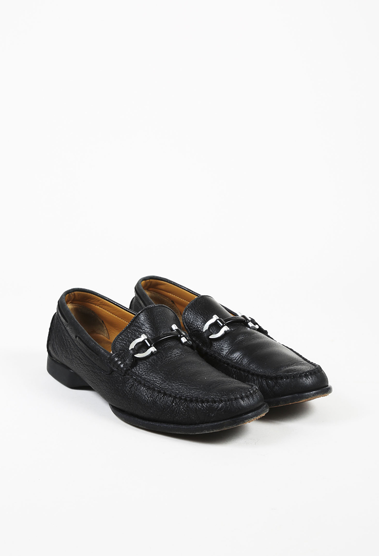 MENS  Black Grained Leather Loafers