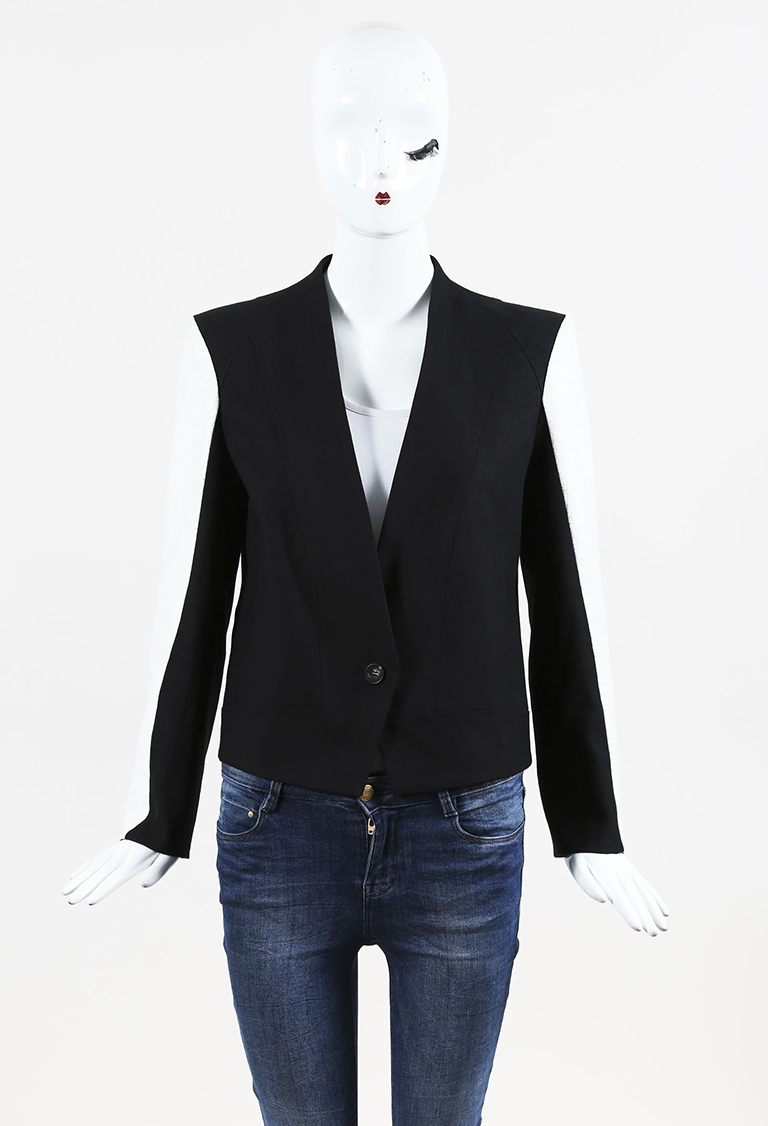 Black & White Cotton & Linen Single Button Jacket