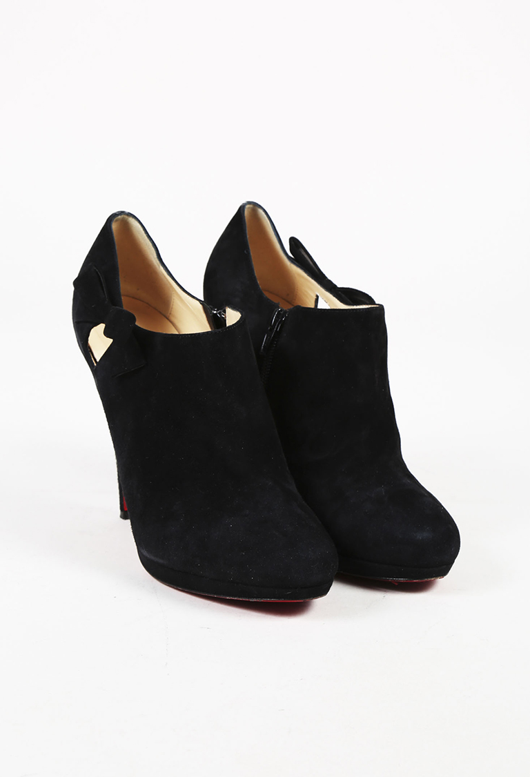 Black Suede Bow High Heel Ankle Booties