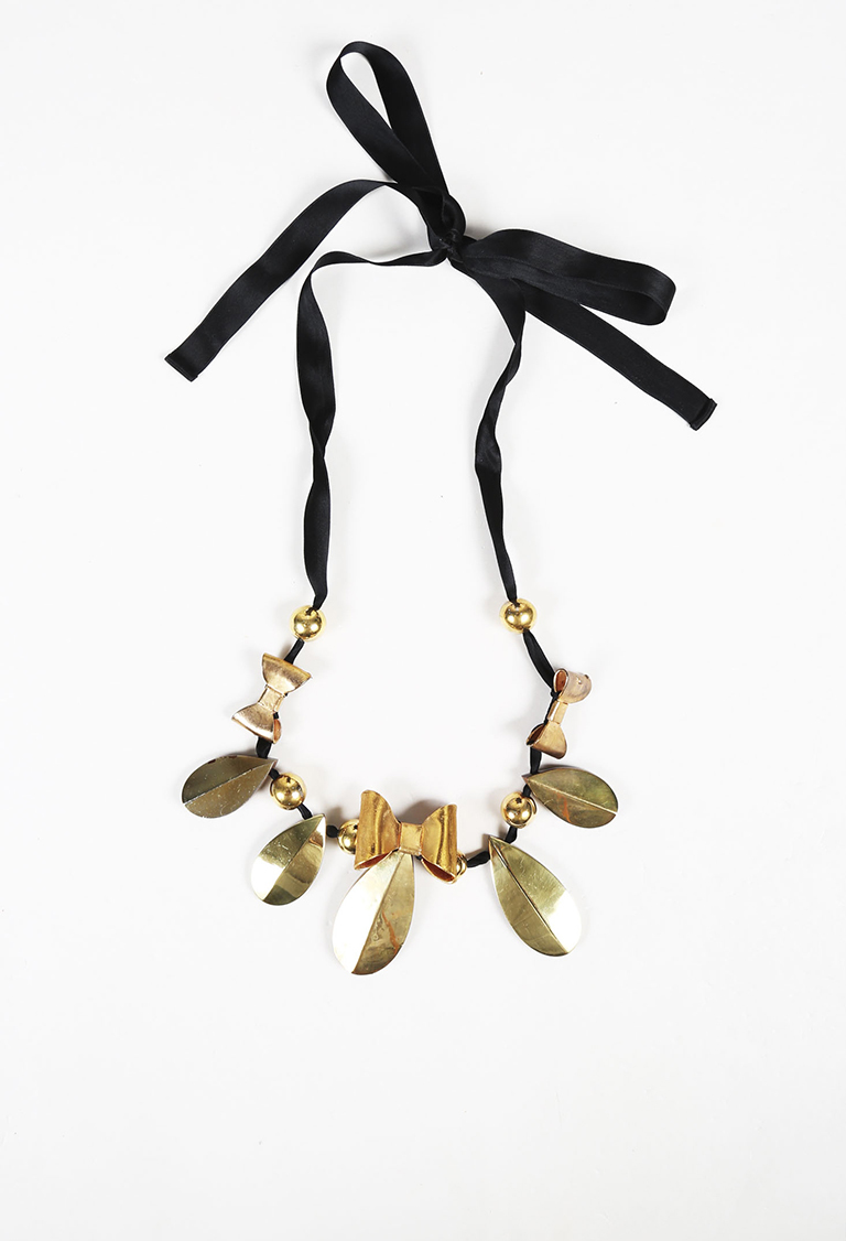 Gold Tone & Black Metal Satin & Wood Bib Necklace