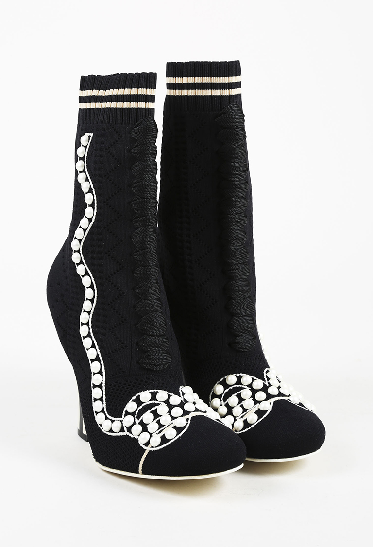 Black White Textured Knit Faux Pearl Embellished Sock Booties