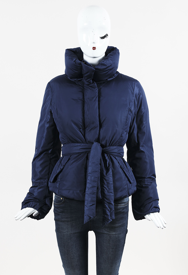 Weekend  Blue Nylon Down Belted Puffer Coat