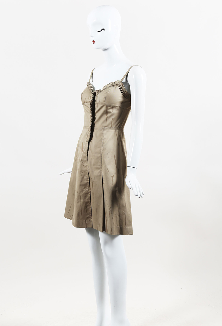 Brown Cotton Pleated Flared Sweetheart Dress