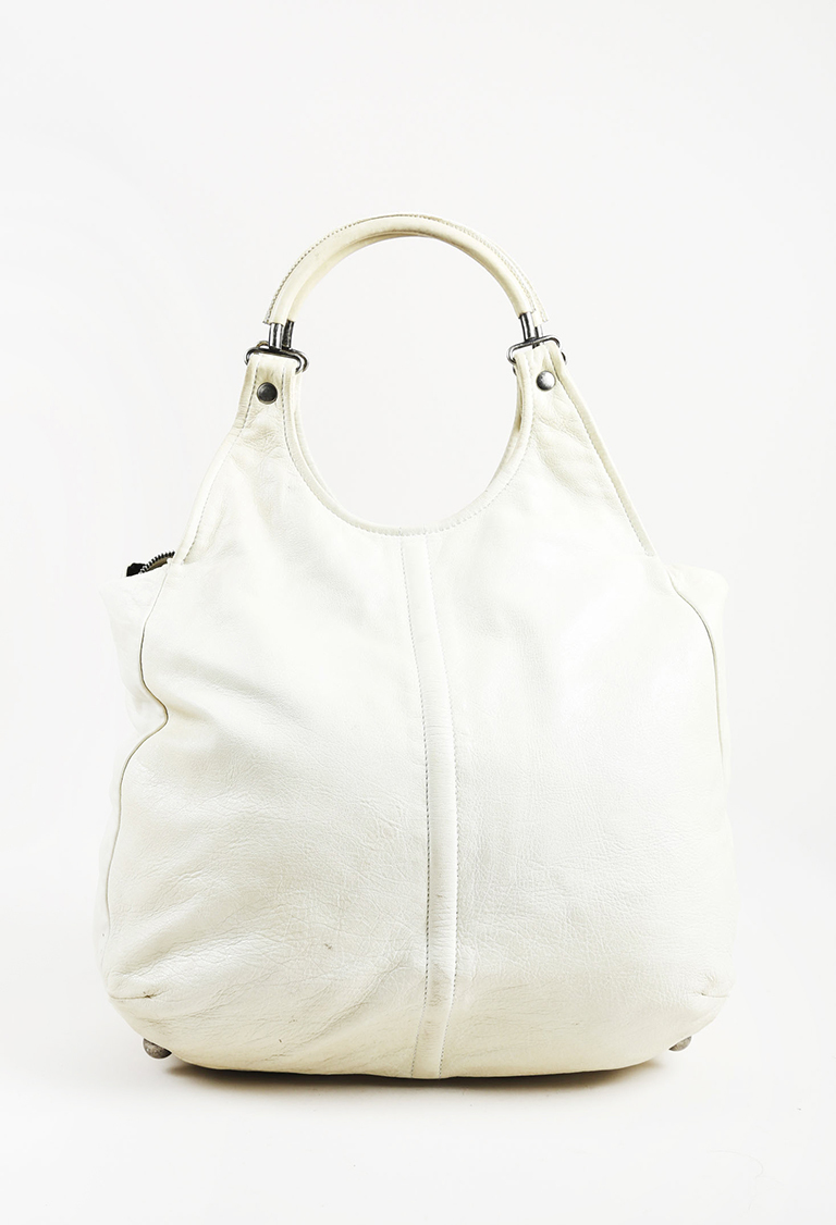 Cream Chevre Leather Ring Handle Hobo Bag