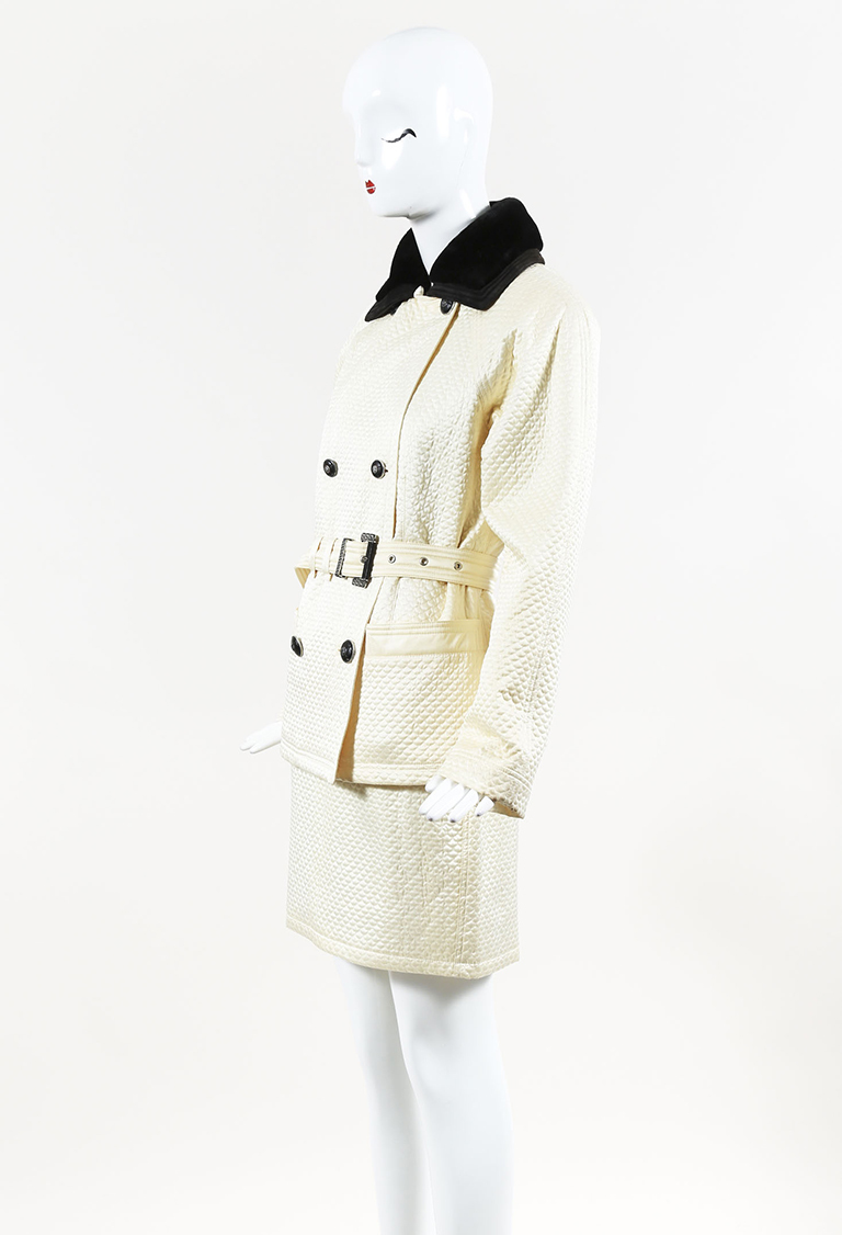 Gianni  Couture Cream Satin Shearling & Suede Jacket & Skirt Set