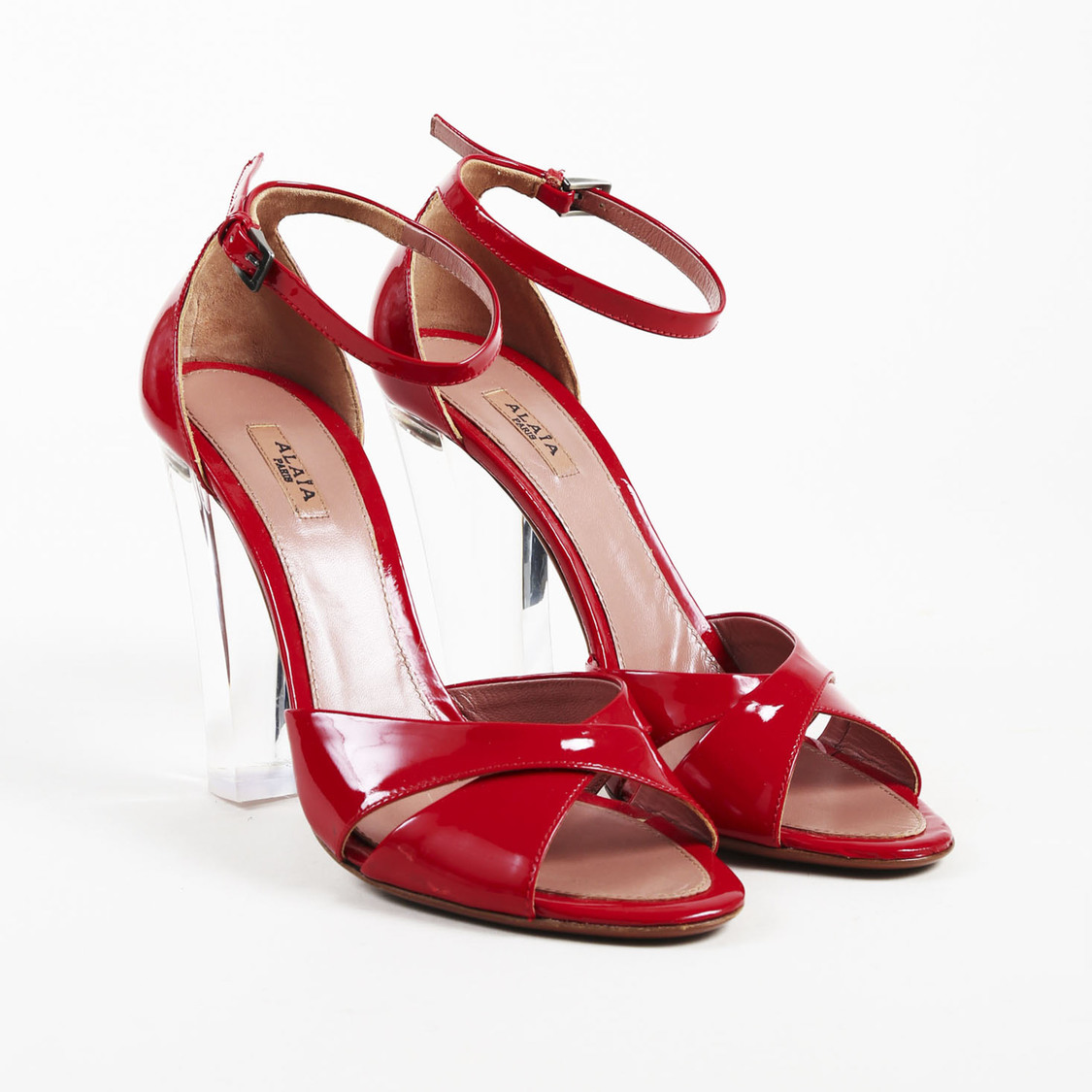 Details about Alaia Red Patent Leather Lucite Heel Ankle Strap Sandals SZ  38.5