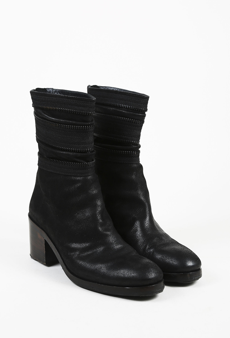 Black Leather Zip Accented Ankle Boots