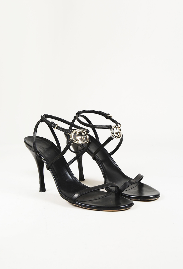 Black Leather 'GG' Ankle Strap Sandals