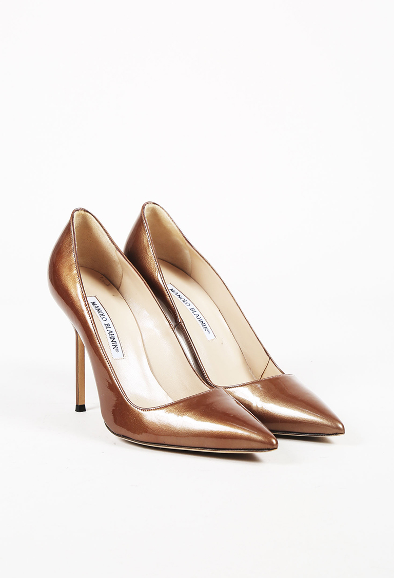 Gold Patent Leather Pointed Toe Pumps