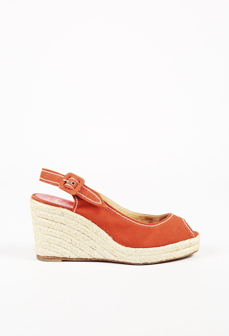 aa6f23f2b15 Details about Christian Louboutin Red Canvas Peep Toe Espadrille