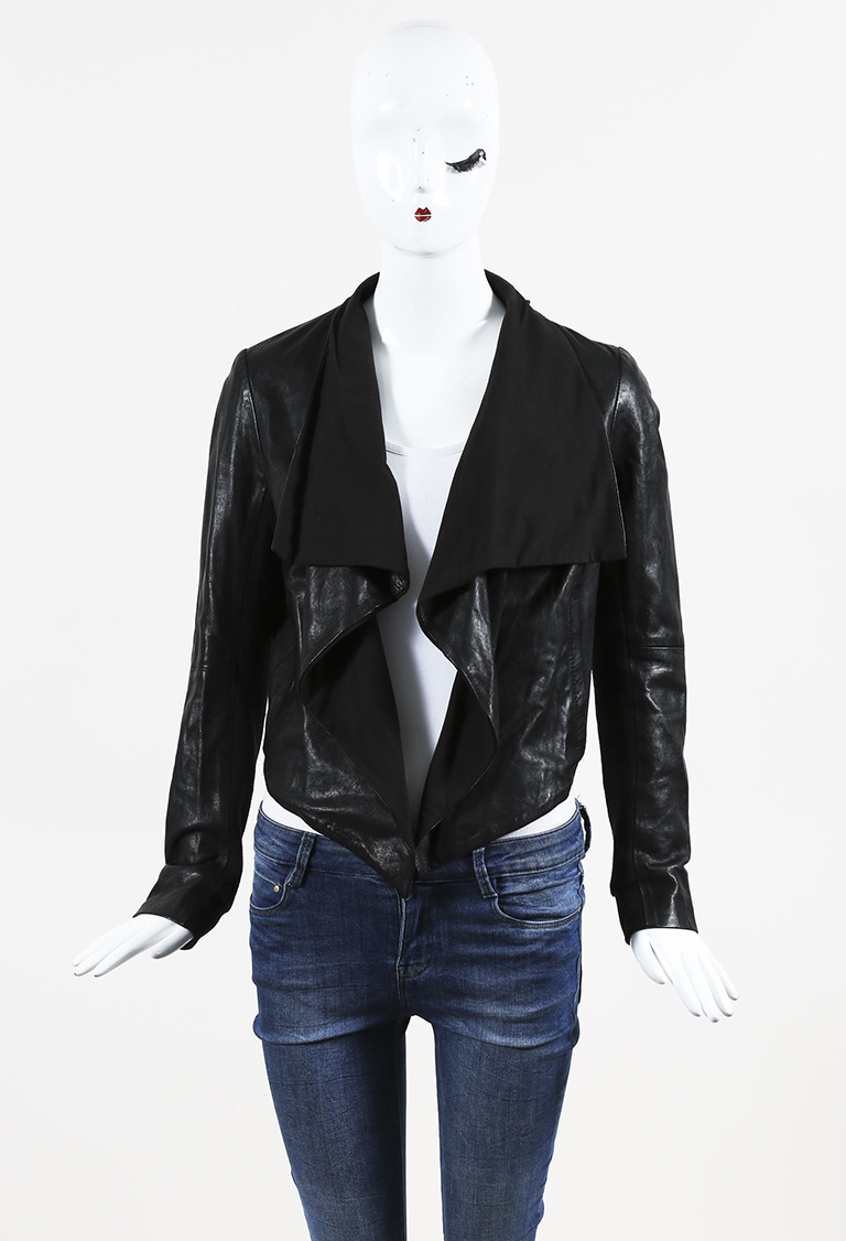 Black Leather Draped Jacket